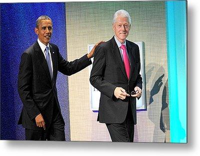 Barack Obama, Bill Clinton At A Public Metal Print by Everett