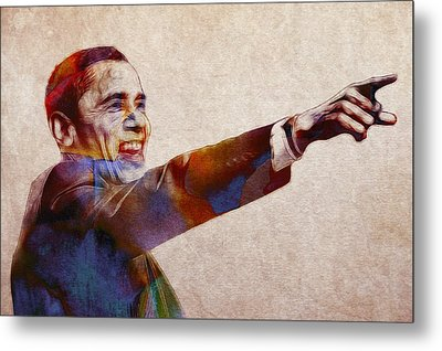 Barack Obama Watercolor Metal Print by Steve K