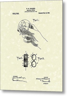 Bare Ball Curver 1909 Patent Art Metal Print