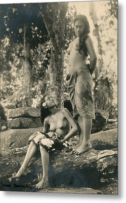 Bare-breasted Marquesas Islands Girls Metal Print by J.W. Church