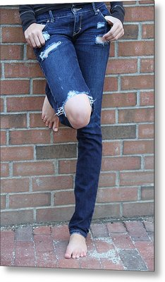 Barefeet And Blue Jeans Metal Print by Rebecca Powers