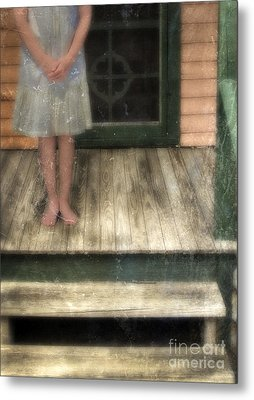 Barefoot Girl On Front Porch Metal Print