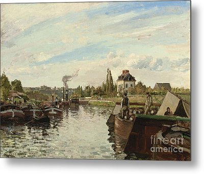 Barge On The Seine At Bougival Metal Print by Camille Pissarro