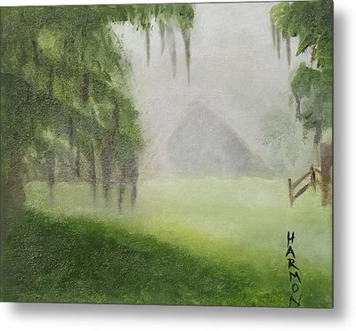 Barn On Foggy Morning Metal Print