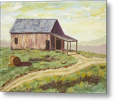 Barn On The Ridge Metal Print by Alan Mager