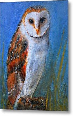 Metal Print featuring the painting Barn Owl by Lynn Hughes
