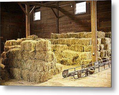 Barn With Hay Bales Metal Print by Elena Elisseeva