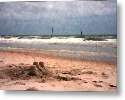 Barnacle Bill's And The Sandcastle Metal Print by Betsy Knapp