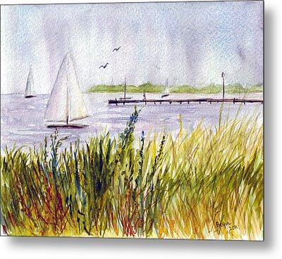 Metal Print featuring the painting Barnegat Sails by Clara Sue Beym