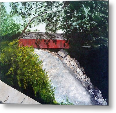 Barrackville Covered Bridge Metal Print by Carol Van Sickle