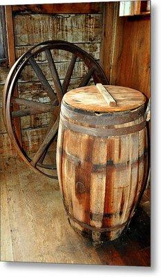 Barrel And Wheel Metal Print by Marty Koch