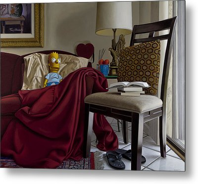 Bart On Couch With Red Blanket Metal Print by Tony Chimento