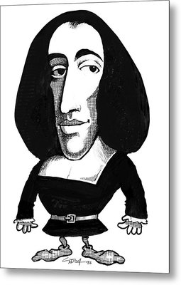 Baruch Spinoza, Caricature Metal Print by Gary Brown