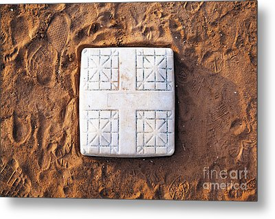 Base On Baseball Field Metal Print by Skip Nall