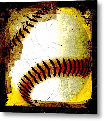 Baseball Abstract Metal Print by David G Paul