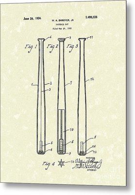 Baseball Bat 1924 Patent Art Metal Print by Prior Art Design