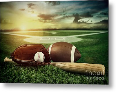Baseball  Bat  And Mitt In Field At Sunset Metal Print by Sandra Cunningham