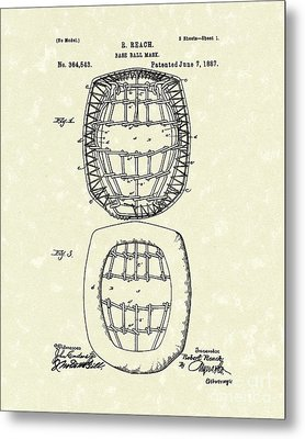 Baseball Mask 1887 Patent Art Metal Print