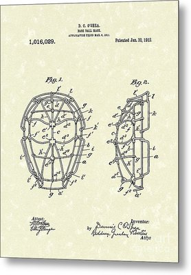 Baseball Mask 1912 Patent Art Metal Print by Prior Art Design