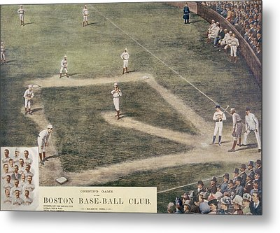 Baseball, New York At Boston, 1889 Metal Print by Everett