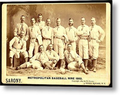 Baseball Panoramic Metropolitan Nine Circa 1882 Metal Print by Pg Reproductions