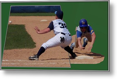 Baseball Pick Off Attempt 02 Metal Print by Thomas Woolworth