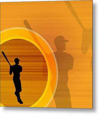 Baseball Player About To Swing, Silhouette (digital) Metal Print by Chad Baker