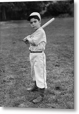 Baseball Player Metal Print by L M Kendall