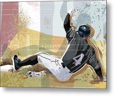 Baseball Player Sliding Into Base Metal Print by Greg Paprocki