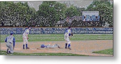 Baseball Playing Hard Digital Art Metal Print by Thomas Woolworth
