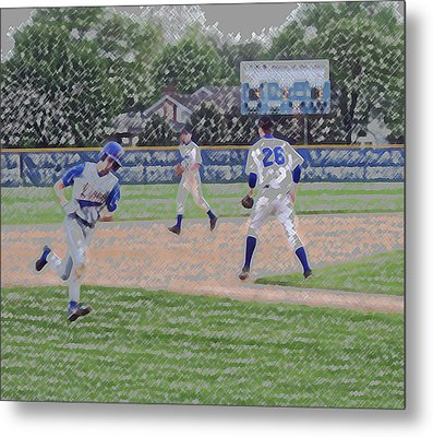 Baseball Runner Heading Home Digital Art Metal Print by Thomas Woolworth