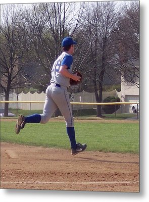 Baseball Step And Throw From Third Base Metal Print by Thomas Woolworth
