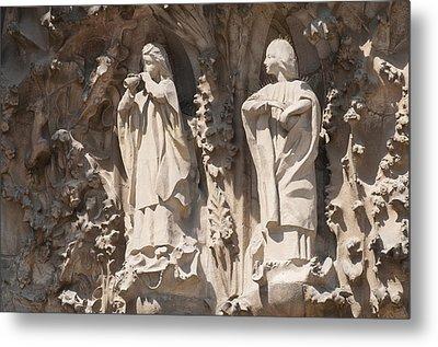 Basilica Sagrada Familia Nativity Facade Detail Metal Print by Matthias Hauser