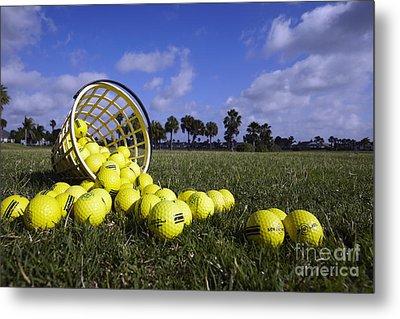 Basket Of Golf Balls Metal Print by Skip Nall