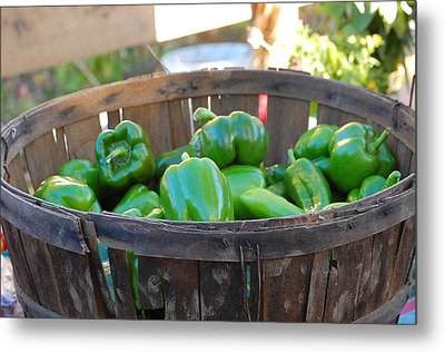 Metal Print featuring the photograph Basket Of Green Peppers by Mary McAvoy