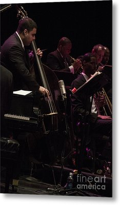Bass Player Jams Jazz Metal Print by Darleen Stry
