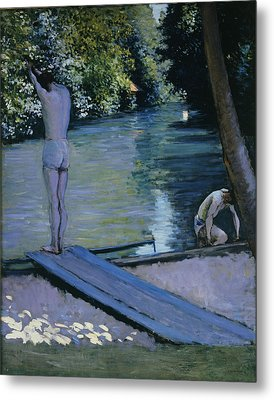 Bather About To Plunge Into The River Yerres Metal Print by Gustave Caillebotte