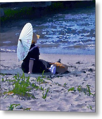 Bather By The Bay - Square Cropping Metal Print by David Coblitz