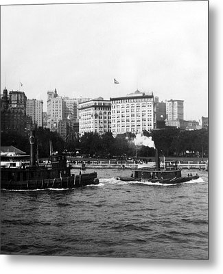 Battery Park And Lower Manhattan New York City - C 1904 Metal Print by International  Images