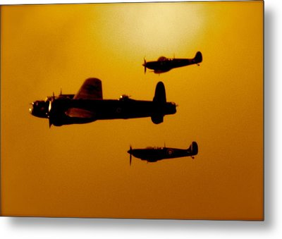 Metal Print featuring the photograph Battle Of Britain Flight At Dusk by John Colley