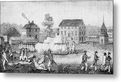 Battle Of Lexington, 1775 Metal Print by Photo Researchers