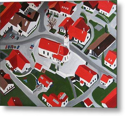 Bavarian Village Metal Print by Toni Silber-Delerive