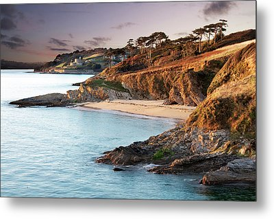 Beach And Castle In Uk Metal Print by Ray Bradshaw