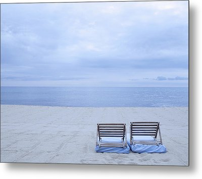 Beach And Chairs In St Tropez, French Riveira Metal Print by Ballyscanlon