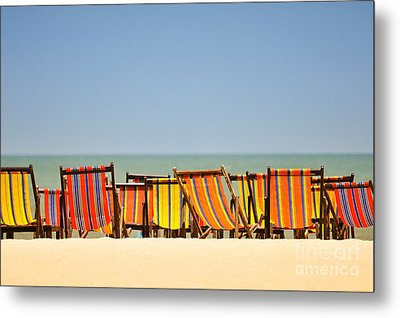 Beach Chairs Colorful  Metal Print by Panupong Roopyai