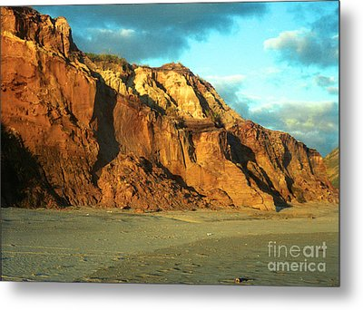 Metal Print featuring the photograph Beach Cliff At Sunset by Mark Dodd