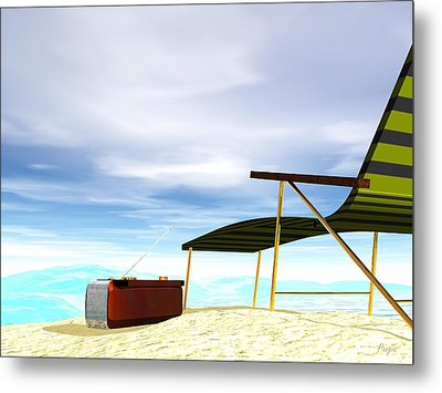 Metal Print featuring the digital art Beach Day by John Pangia