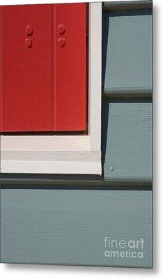 Beach House - Red Gray White Metal Print by Hideaki Sakurai
