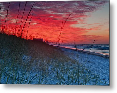 Beach On Fire Metal Print by At Lands End Photography