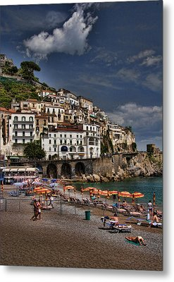 Beach Scene In Amalfi On The Amalfi Coast In Italy Metal Print by David Smith
